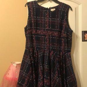 Navy Blue/ Purple knee length dress